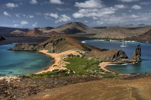 Gorgeous view from peak of hill in the Galapagos Islands